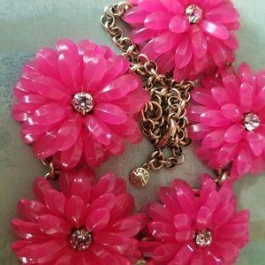 J Crew Bright Pink Flower Statement Necklace